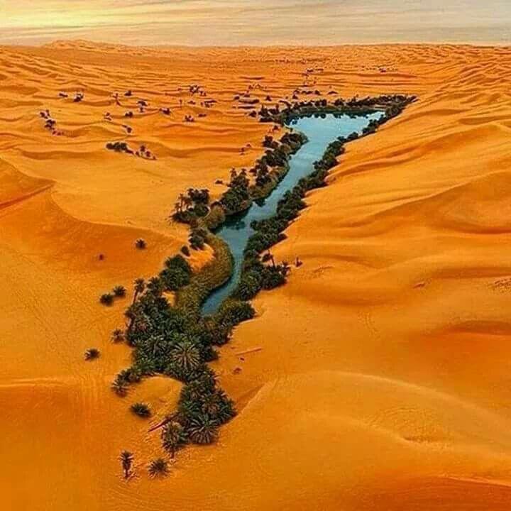 Hermosa vista aérea de un oasis en el desierto en Libia