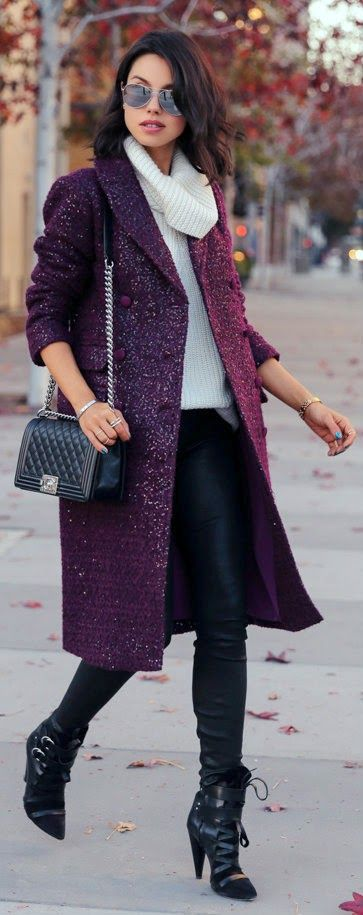 SEQUINED IN SAN DIEGO - Purple sequin wool mohair coat, stretch leather Janice ultra skinny pants in black