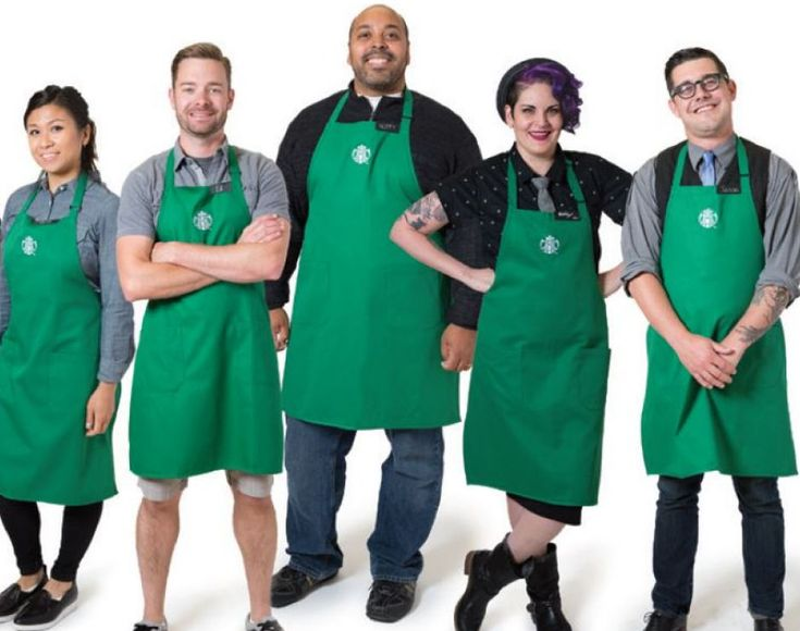 Rather than the familiar solid black, white and khaki clothing underneath green aprons, baristas will be decked out in a range of colors and outfits…