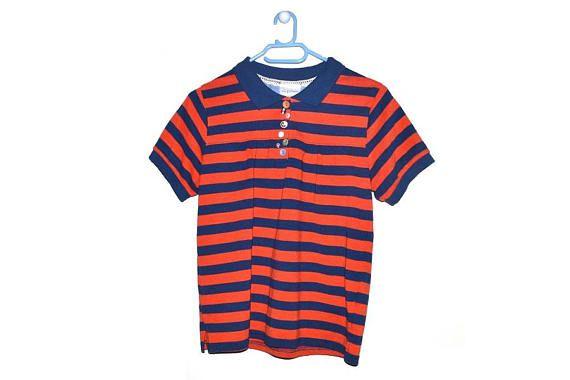 Vintage Striped Polo T Shirt Blue Orange Womens Top 90s Grunge