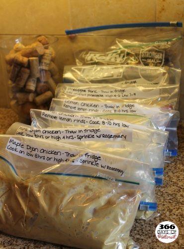 6 Bulk Freezer Meals (for crock pots). Pineapple Pork and Apples &