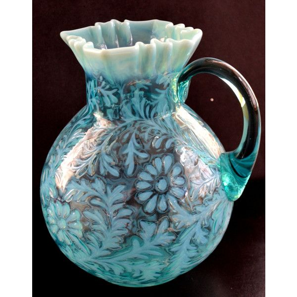 Daisy Fern Aqua Blue Opalescent Glass Pitcher Northwood Victorian... ($250) ❤ liked on Polyvore featuring home, kitchen & dining, serveware, glass jug, glass pitcher and glass serveware