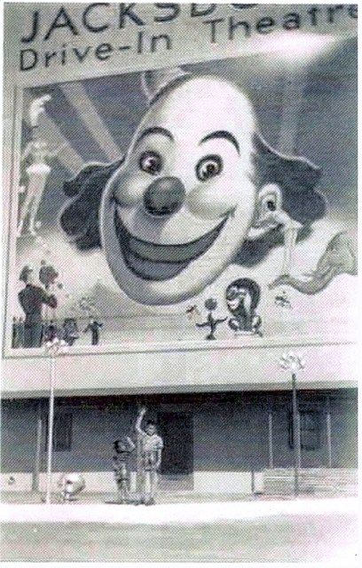 Jacksboro/Corral Drive-In, Lake Worth, Texas. I used to hide down in the floor board of the car every time we drove past this theater to and from my Grandparents house. To this day, clowns still scare me!! lol! ;)