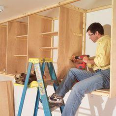garage cabinets DIY Garage, ideas, man cave, workshop, organization, organize, home, house, indoor, storage, woodwork, design, tool, mechanic, auto, shelving, car.