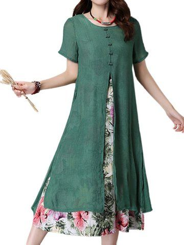 <50% OFF>  US$24.59 Women Short Sleeve O Neck Fake Two Pieces Floral Printed Vintage Dress