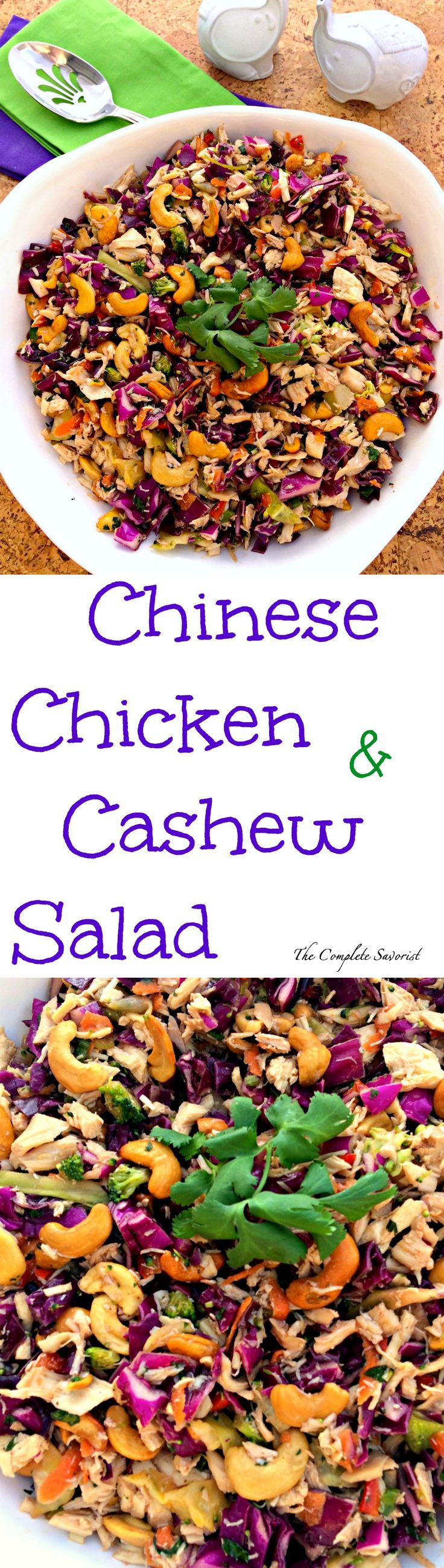 Chinese Chicken and Cashew Salad ~ Salad from an Asian slaw, chicken, and cashews in a tangy dressing. ~ The Complete Savorist