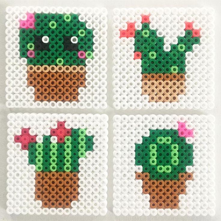 Cactus coasters made of Hama beads - one with a little kawaii face. Made by @mitkrearum #hamabeads #hamacactus #hamacoaster #coasters #cactus #hamaperler #perleplader #hama #hamahygge mitkrearumhama