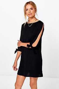 Roxy Tie Sleeve Long Sleeve Shift Dress