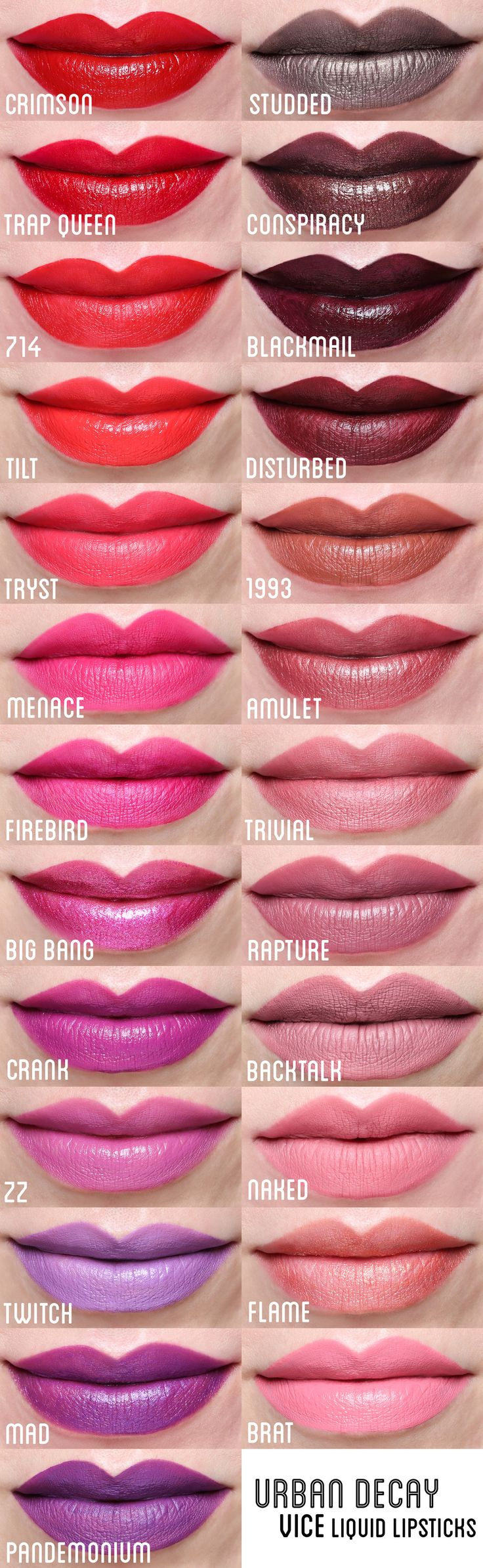 Urban Decay Vice Liquid Lipstick -Flame, Trivial, Rapure, Backtalk Bigbang, Then Brat, twitch, ZZ, mad, Backtalk, Naked,