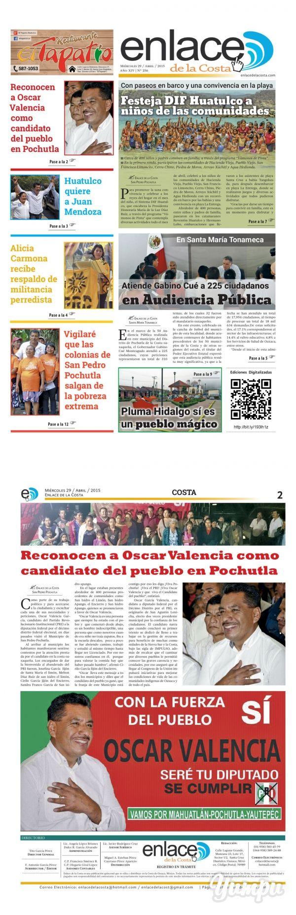 Edición 256; Enlace de la Costa - Magazine with 12 pages: Edición número 256 del periódico Enlace de la Costa, editado y distribuido en la Costa de Oaxaca, con información de la región.