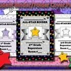 Student Binder or Folder Cover Page - Superstar Theme Multi-colored Purple Stars - King Virtue