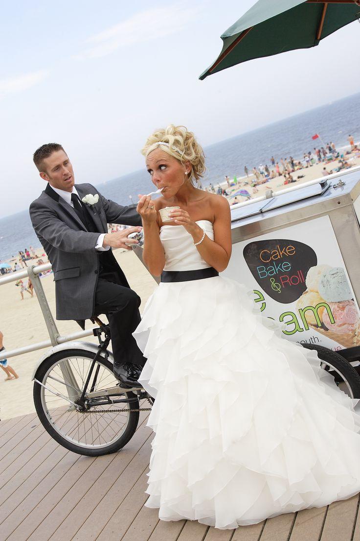 Beach wedding boardwalk wedding pose wedding photography
