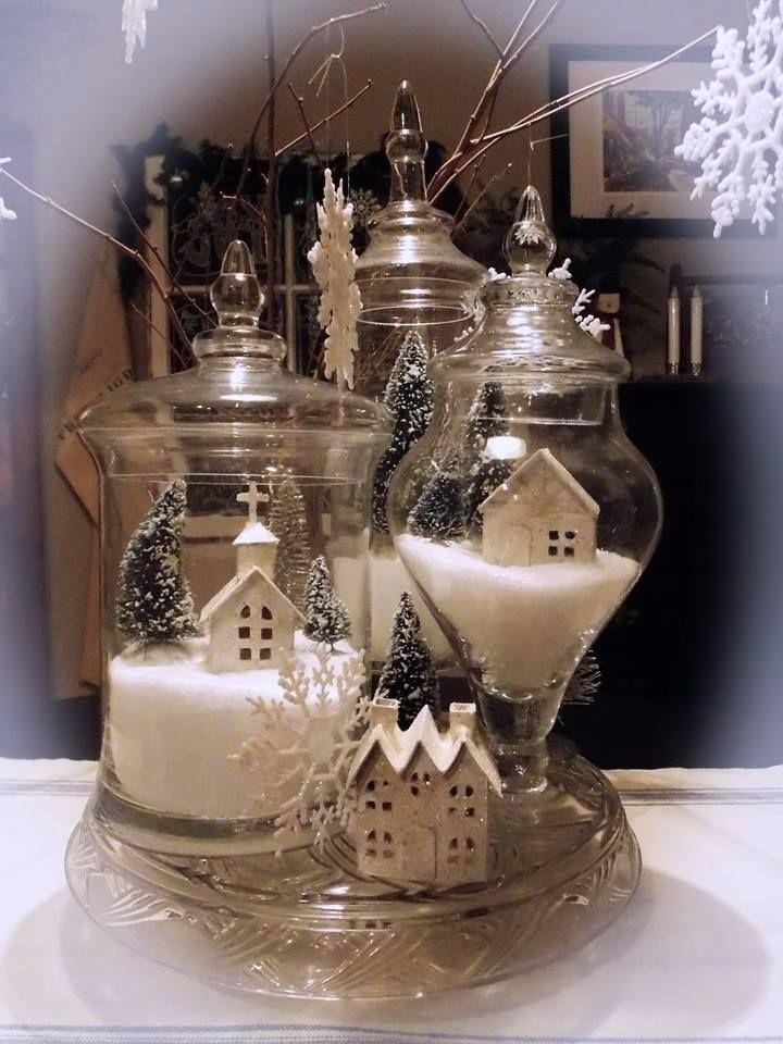 tiny items for a Christmas scene using apothecary jars