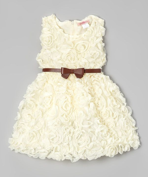 Look at this Ivory Rosette Dress - Toddler & Girls on #zulily today!