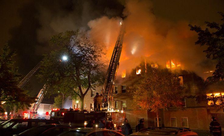 Oak Park Fire Department. Trucks working - Oak Park 631, Cicero 2, Chicago 29, Berwyn 901,  River Forest 219