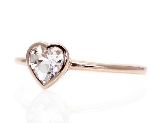 Simplicity & Beauty... Heart White Sapphire Engagement Ring Bezel Solitaire by RareEarth, $625.00