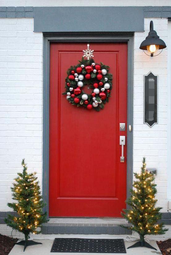 Wonderful Christmas Door Decor With A Wreath And Small Christmas Trees   13  Dashing Christmas Door Decorations To Impress Your Neighborhood