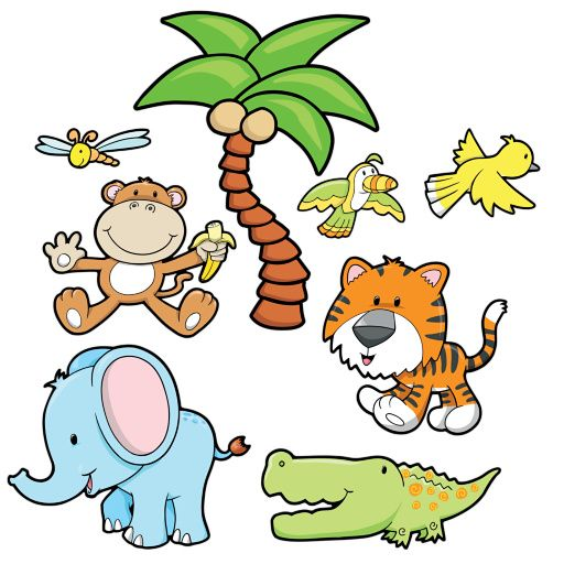 Cartoon Baby Jungle Animals Jungle Wall Decals