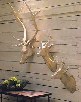 Our Hand Carved Basswood Deer Heads Create An Animal Friendly Trophy Wall.  Just As In Nature, No Two Will Be Exactly Alike Due To The Hand Carvings.