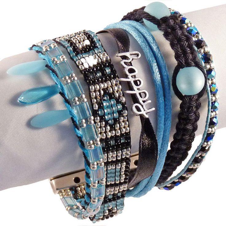 Statement-Armband happy, Blau. Trendiges Armband im Ibiza-Style.