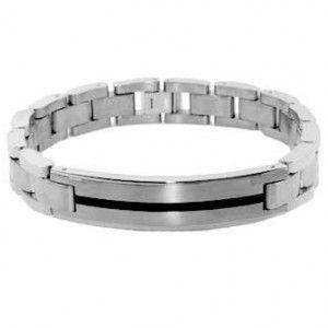 Men's Solid Titanium ID Bracelet Black Resin Inlaid