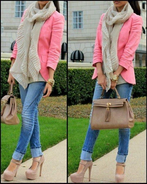 love this look: Nude Shoes, Colors Combos, Cute Outfits, Fall Outfits, Jeans, Nude Heels, Pump, Scarves, Pink Blazers