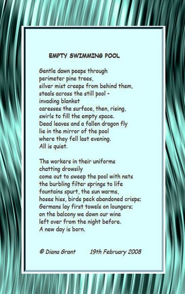 poem empty swimming pool poetry use of language figures of speech pinterest swimming
