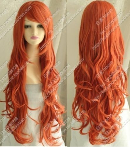Lmra477 2014 Fasion Style Long Orange Red Curly Hair Wig Wigs