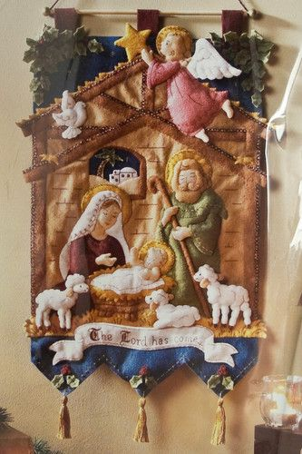 Christmas Manger Scene Wall Hanging Bucilla KIT Nativity Felt Applique Sealed | eBay