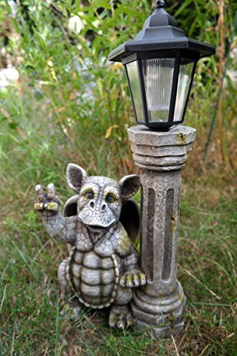 Peace With Solar Lantern Baby Dragon Figure Gargoyle 400 x 300