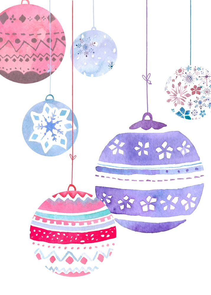 Good use of shapes and composition http://www.felicityfrench.co.uk/images/baubles-card.jpg