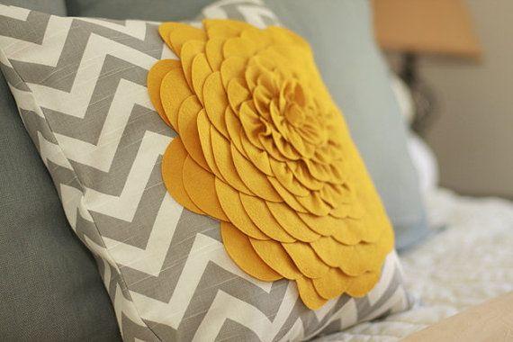Chevron.  Yellow.Pillows Covers, Colors Combos, Throw Pillows, Decor Pillows, Felt Flower, Gray Chevron, Gray Yellow, Yellow Flower, Chevron Stripes