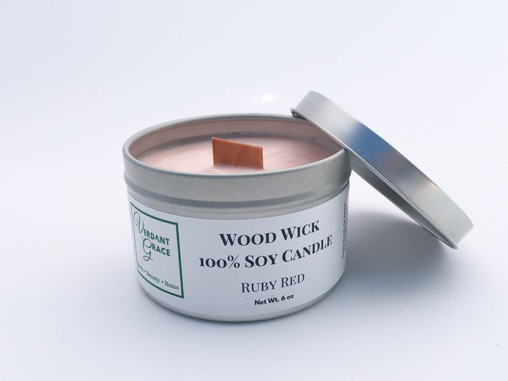 Ruby Red 100% Soy Wood Wick Candle, 6oz