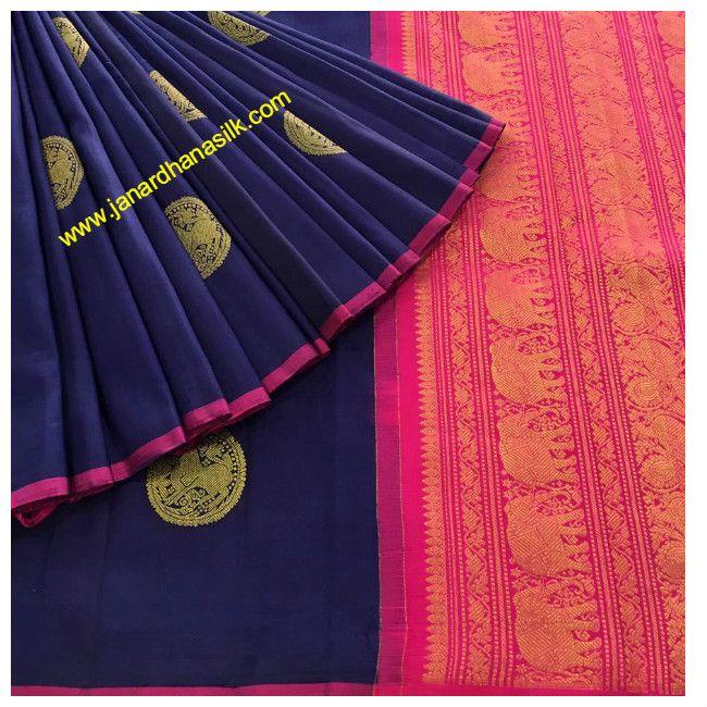 Gorgeous Blue Pure Kanjeevaram Silk Saree Product Code: AC210558
