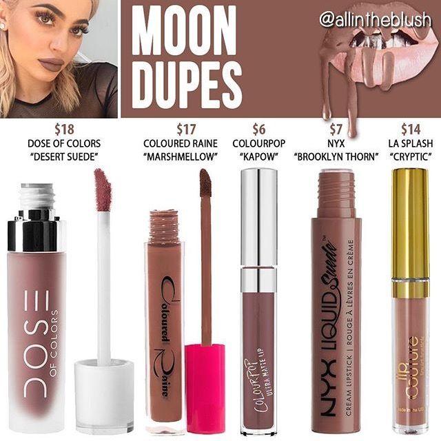 Kylie Jenner Moon lip kit dupes
