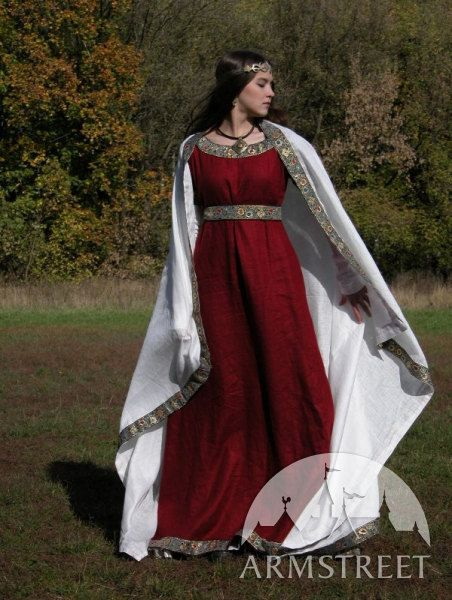 Medieval Franks Wine Red Dress, Underdress (Chemise) and Shawl. $280.00, via Etsy.