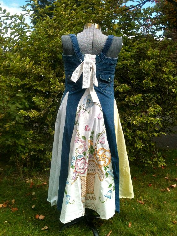 Twirly Jean Dress UpCycled XL by askewasyou on Etsy