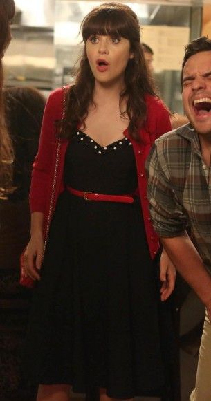 Jess's navy sweetheart dress with polka dot trim with red cardigan and belt on New Girl.  Outfit Details: http://wornontv.net/18955/ #NewGirl