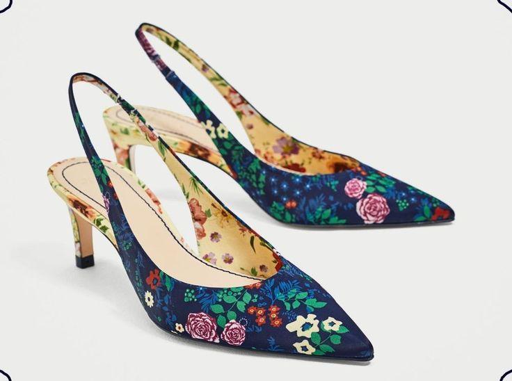 NWT ZARA PRINTED SLINGBACK KITTEN HEELS Floral .5204/201 Size EUR 36/US5.5/UK3.5 #Zara #Slingbacks #Casual