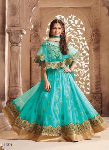 Aqua Blue Kids Ghagra Choli Online Shopping In India