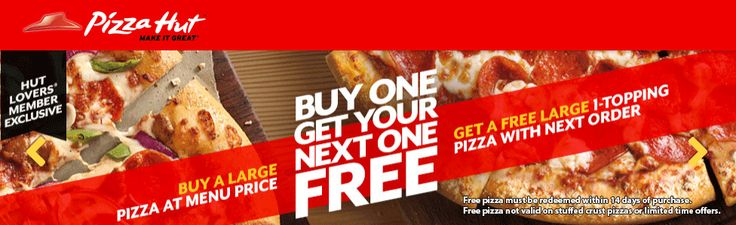 Pinned August 20th: Next pizza free when ordered online at #Pizza Hut #coupon via The #Coupons App