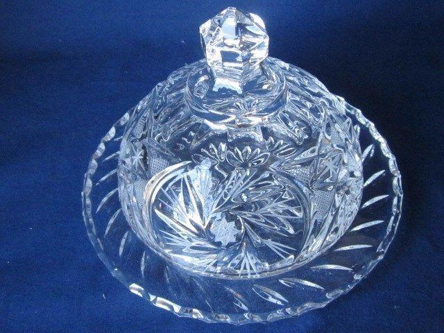 Cut 24 % Lead Crystal, Eastern European,  Dome Butter Dish, Beautiful #EasternEuropeanLeadCrystal