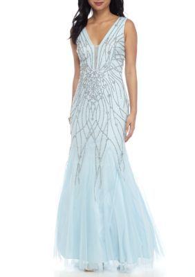Xscape Women's Beaded Chiffon Gown - Blue/Silver - 10