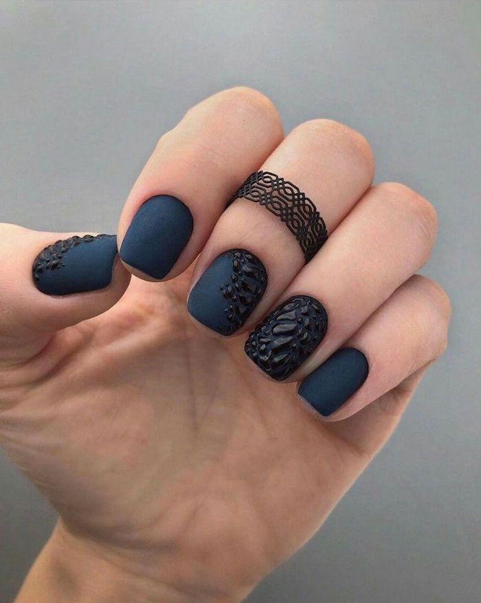 Dark Blue Matte Nails Nail Designs Black 3d Design Hand Black Ring Fingers In 2020 Blue Matte Nails Manicures Designs Nail Designs