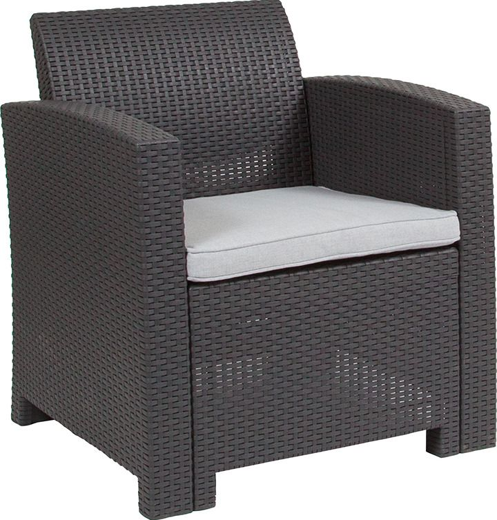 Faux Rattan Furniture Contemporary Outdoor Armchair Gray All Weather Cushion Patio Chairs Grey Cushions Rattan Outdoor Chairs