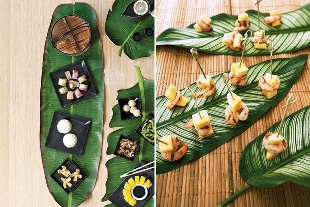 Sua mesa posta do dia a dia pode ficar muito mais charmosa com elementos tropicais. Veja como usar folhas para dar bossa à mesa!