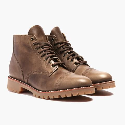 Natural cap toe lace up boot. Built with integrity using Natural Chromexcel  Horween leather upper