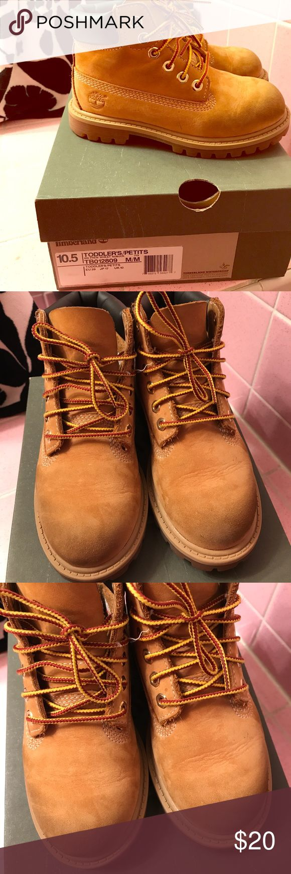 Toddler Timberlands 10.5 My son loves these boots he outgrew them they are a size 10.5 please see photos for blue from his jeans they are price accordingly thank you Timberland Shoes Boots