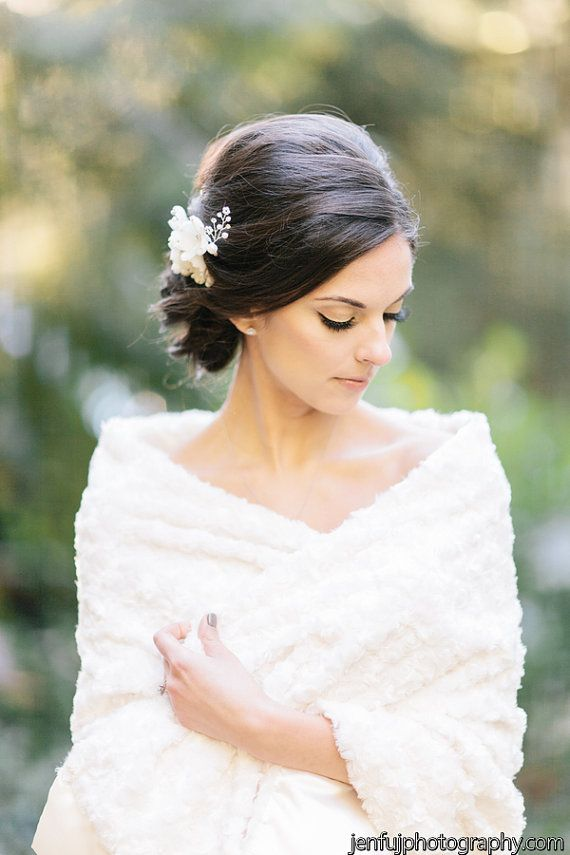 Faux Fur Bridal Cover Up Stole Wedding Shawl Cape