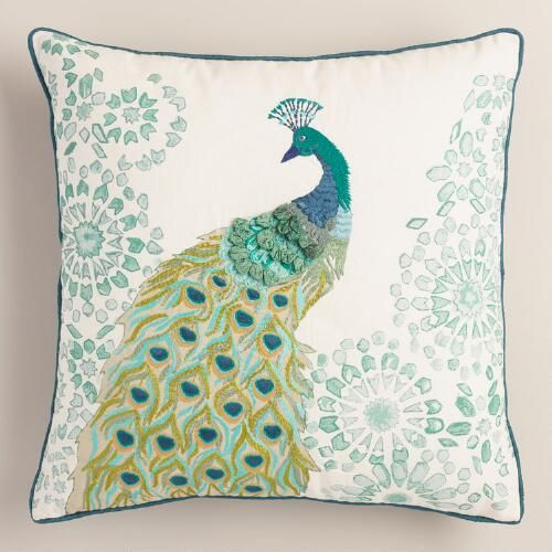 One of my favorite discoveries at WorldMarket.com: Peacock Embroidered Throw Pillow